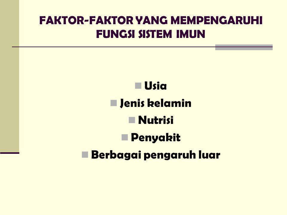 FAKTOR-FAKTOR YANG MEMPENGARUHI FUNGSI SISTEM IMUN