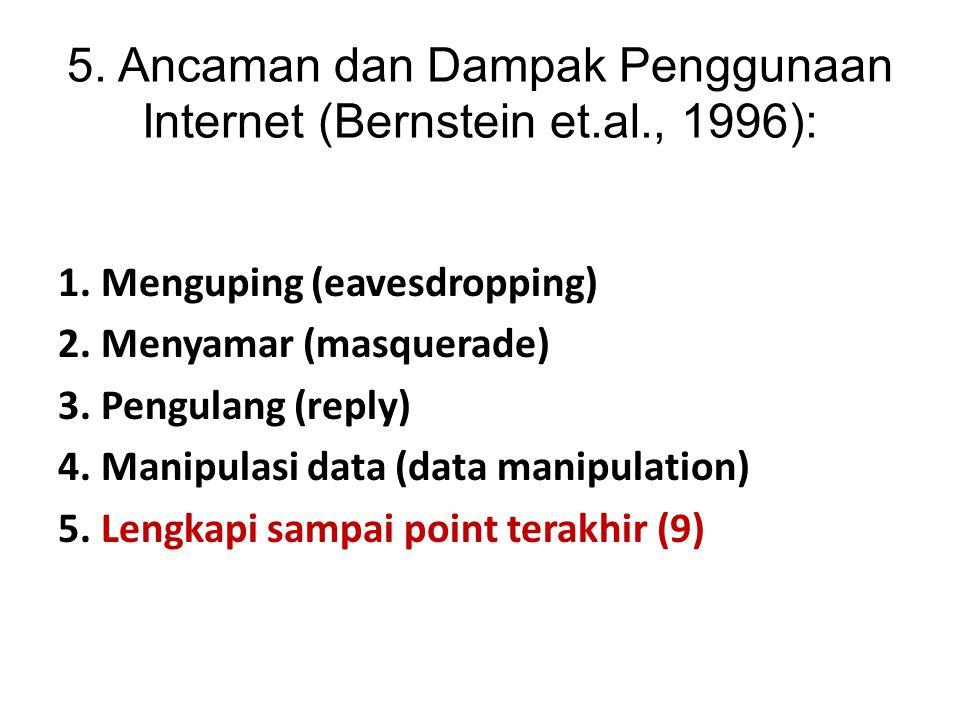 5. Ancaman dan Dampak Penggunaan Internet (Bernstein et.al., 1996):
