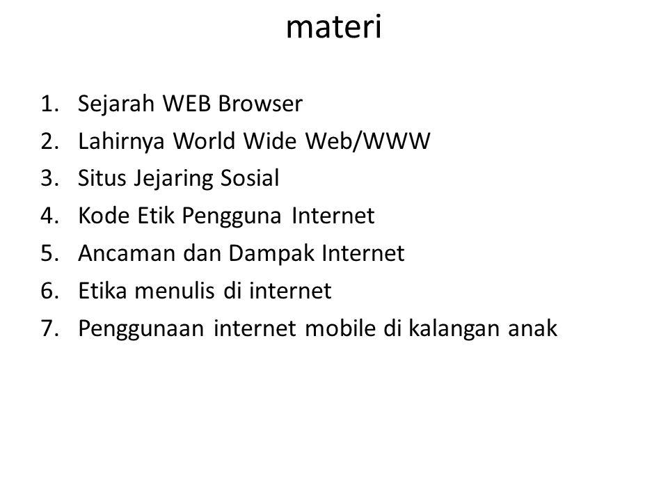materi Sejarah WEB Browser Lahirnya World Wide Web/WWW