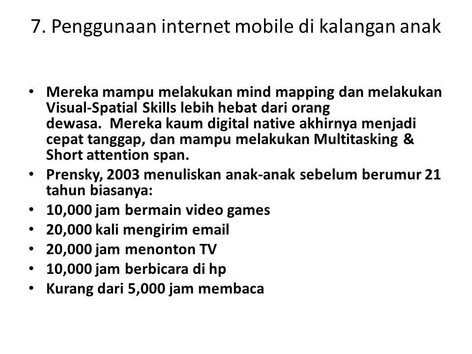 7. Penggunaan internet mobile di kalangan anak