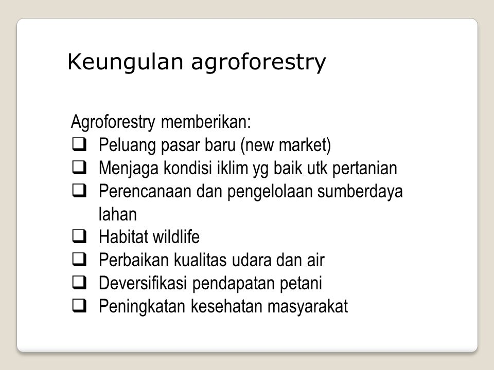 Keungulan agroforestry