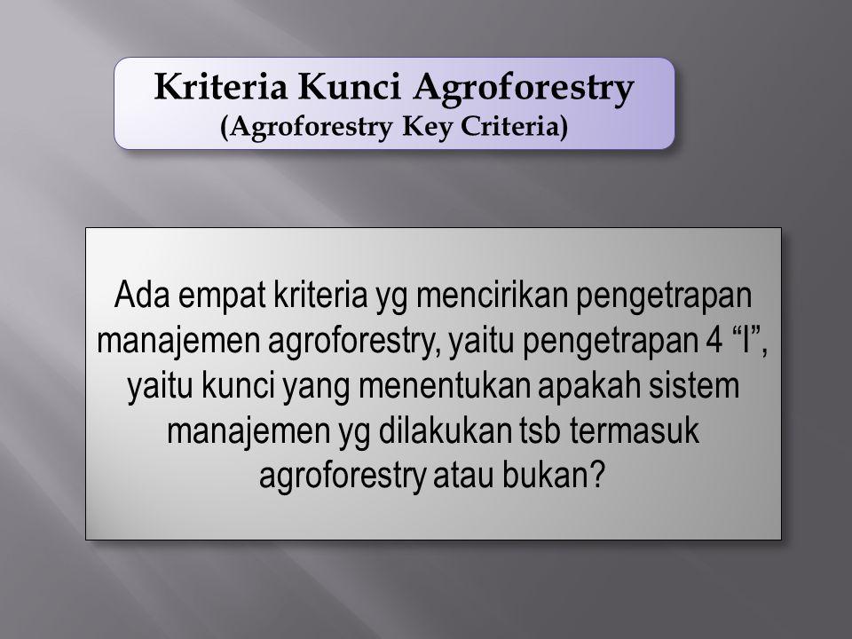 Kriteria Kunci Agroforestry (Agroforestry Key Criteria)