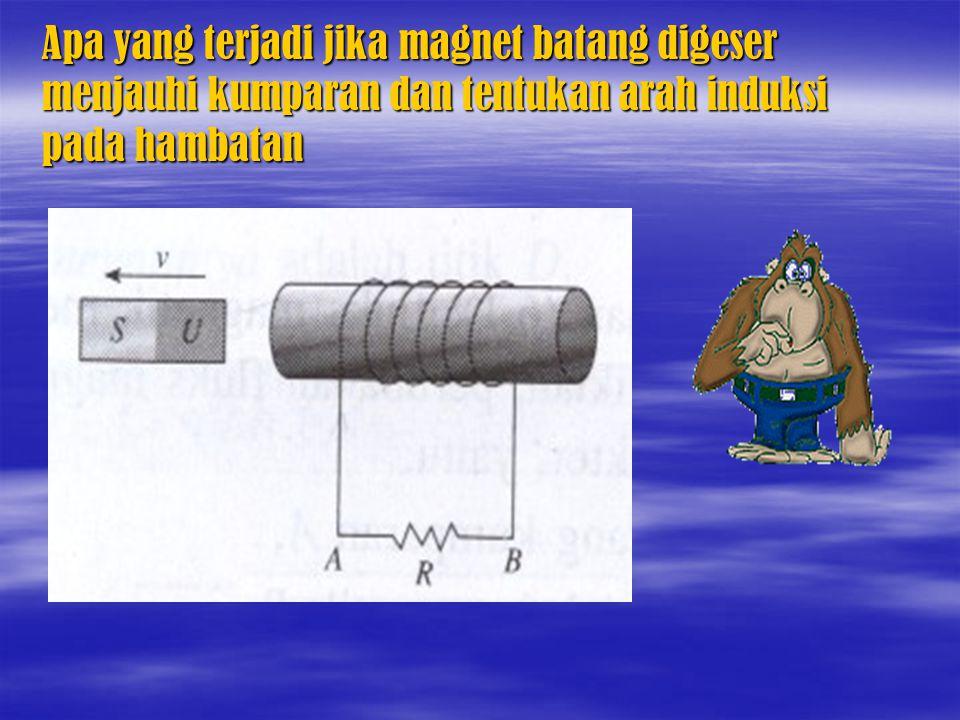 Apa yang terjadi jika magnet batang digeser menjauhi kumparan dan tentukan arah induksi pada hambatan