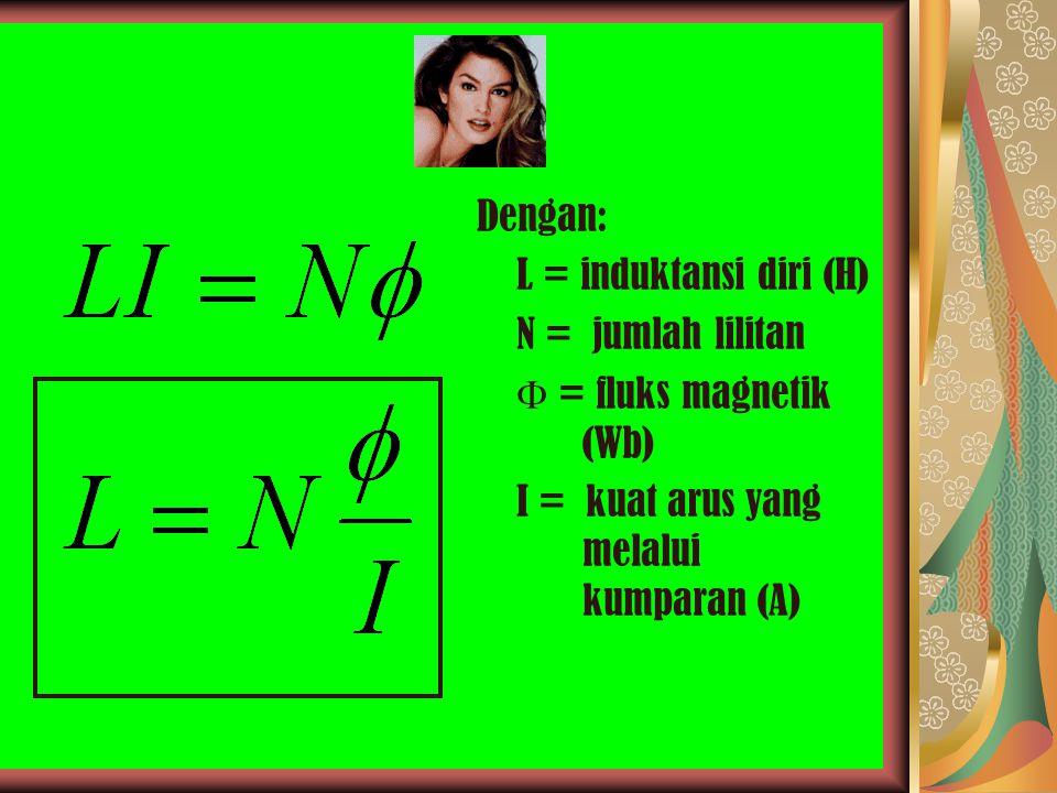 Dengan: L = induktansi diri (H) N = jumlah lilitan.