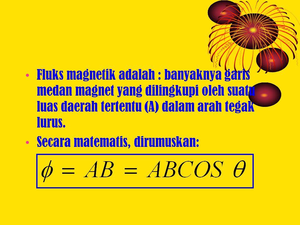 Fluks magnetik adalah : banyaknya garis medan magnet yang dilingkupi oleh suatu luas daerah tertentu (A) dalam arah tegak lurus.