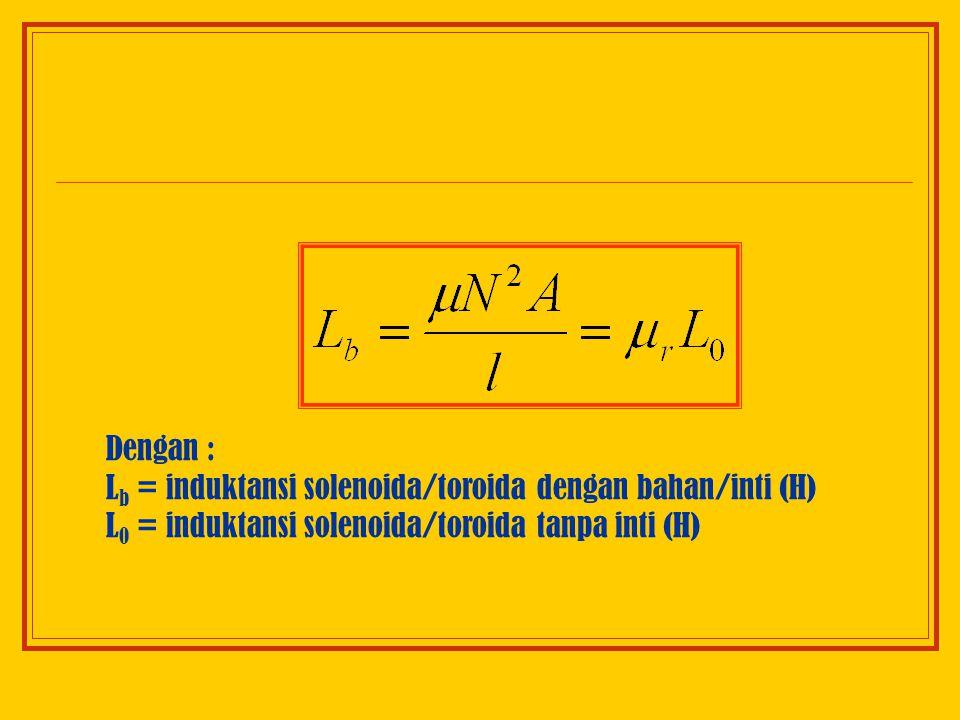 Dengan : Lb = induktansi solenoida/toroida dengan bahan/inti (H) L0 = induktansi solenoida/toroida tanpa inti (H)