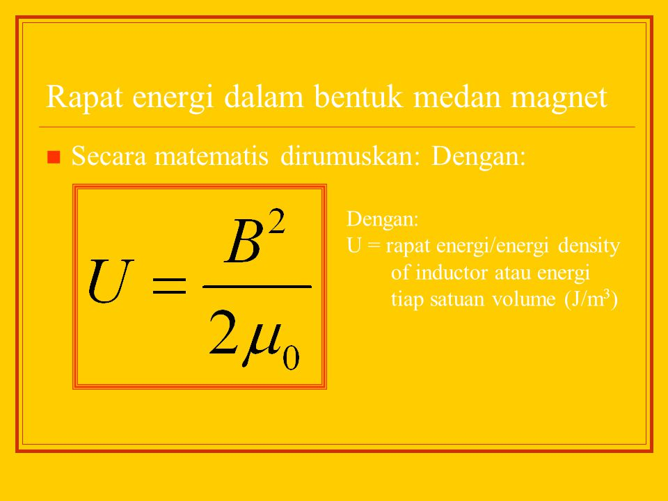 Rapat energi dalam bentuk medan magnet