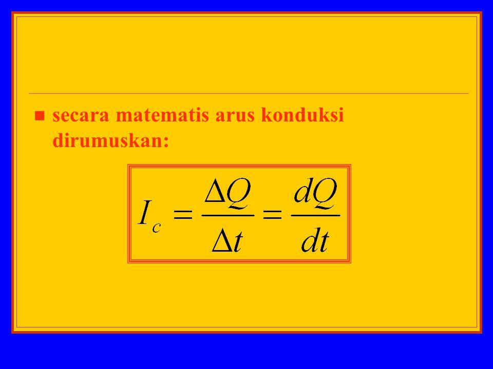 secara matematis arus konduksi dirumuskan: