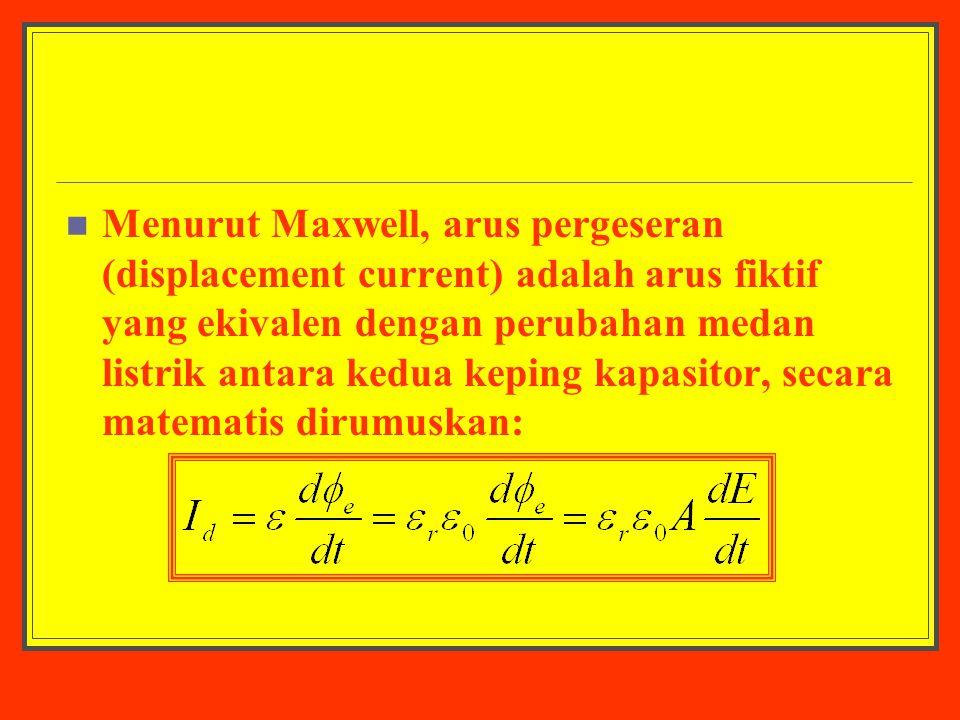 Menurut Maxwell, arus pergeseran (displacement current) adalah arus fiktif yang ekivalen dengan perubahan medan listrik antara kedua keping kapasitor, secara matematis dirumuskan: