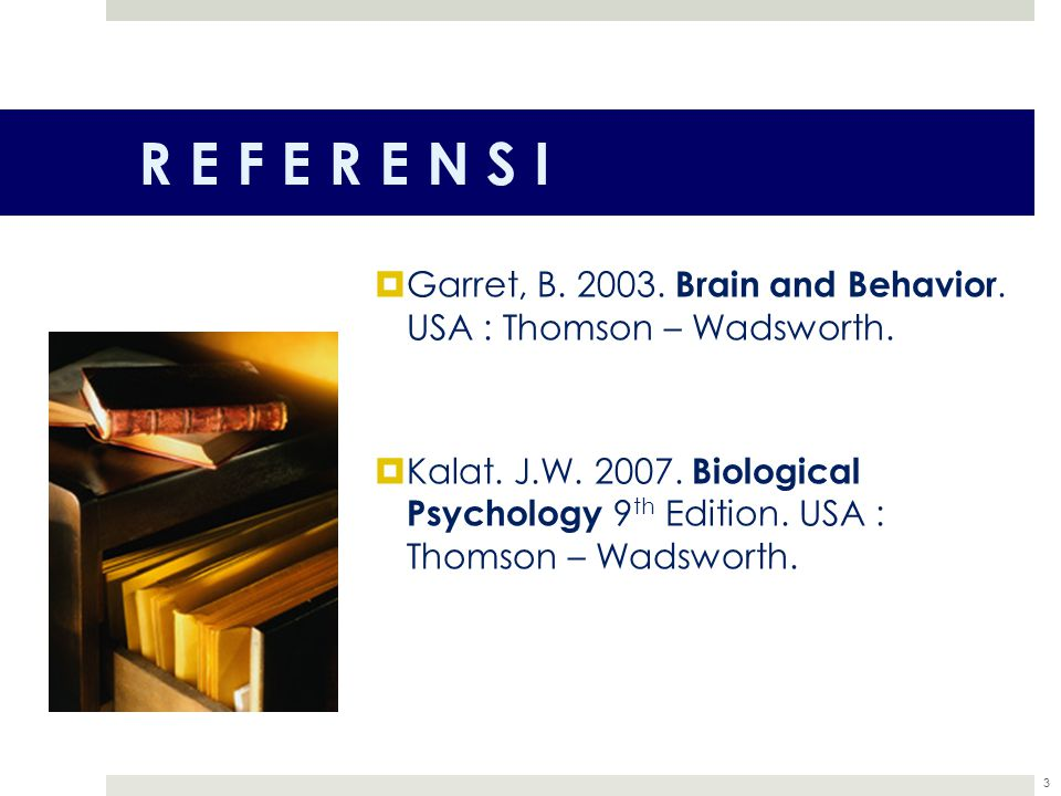 R E F E R E N S I Garret, B. 2003. Brain and Behavior. USA : Thomson – Wadsworth.