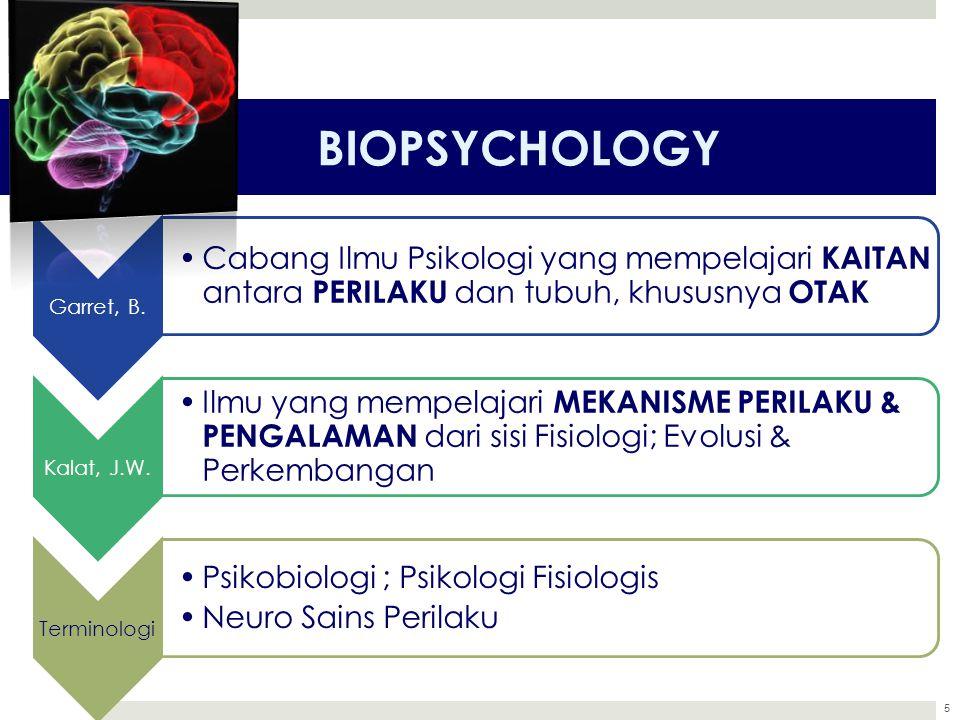BIOPSYCHOLOGY Garret, B. Cabang Ilmu Psikologi yang mempelajari KAITAN antara PERILAKU dan tubuh, khususnya OTAK.