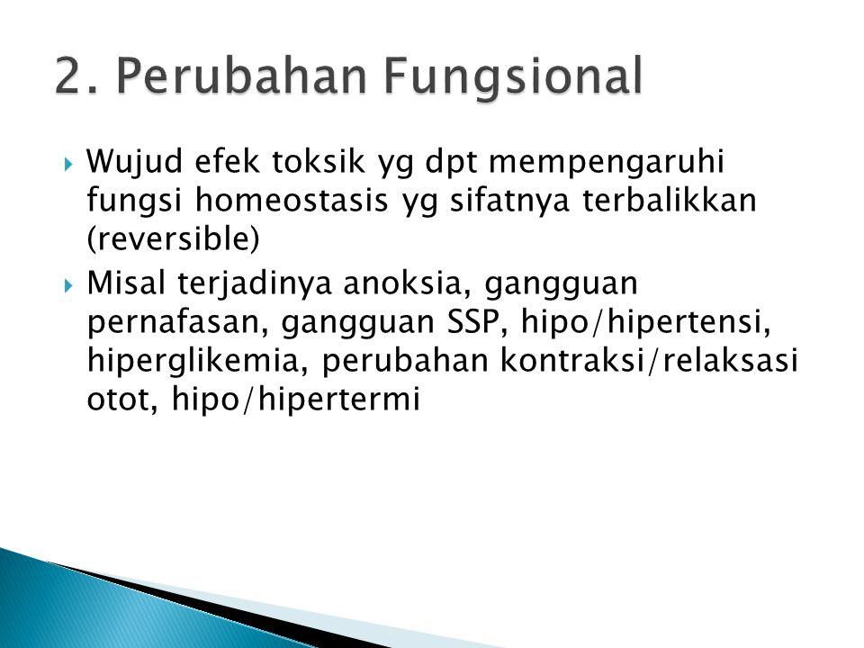 2. Perubahan Fungsional Wujud efek toksik yg dpt mempengaruhi fungsi homeostasis yg sifatnya terbalikkan (reversible)