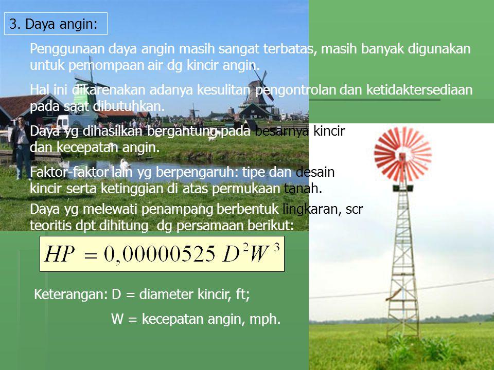 3. Daya angin: Penggunaan daya angin masih sangat terbatas, masih banyak digunakan untuk pemompaan air dg kincir angin.