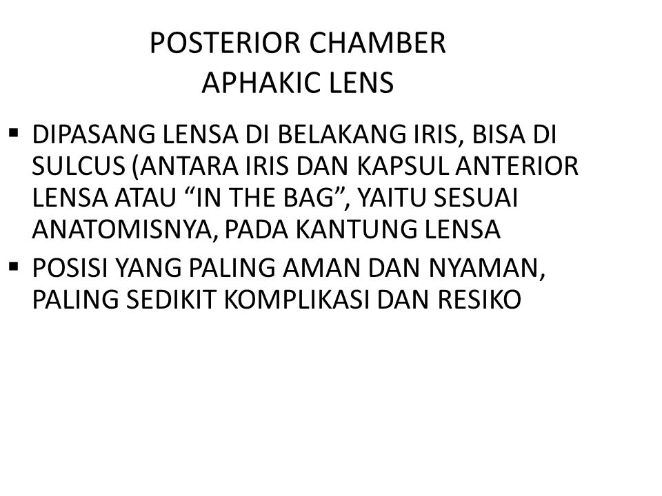 POSTERIOR CHAMBER APHAKIC LENS