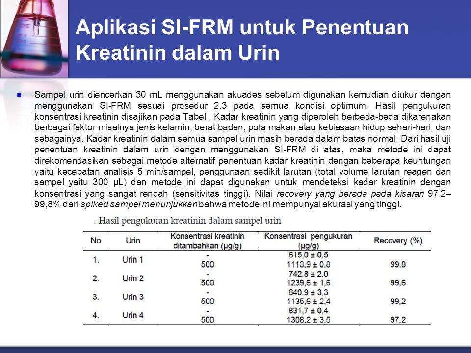 Aplikasi SI-FRM untuk Penentuan Kreatinin dalam Urin