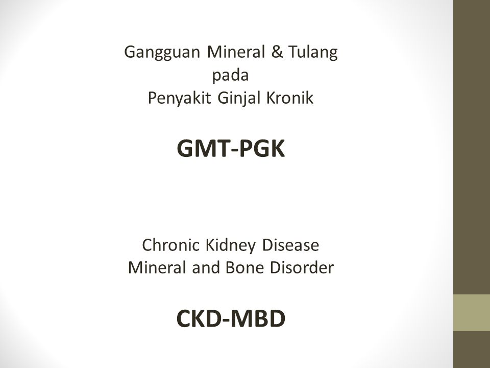 GMT-PGK CKD-MBD Gangguan Mineral & Tulang pada Penyakit Ginjal Kronik
