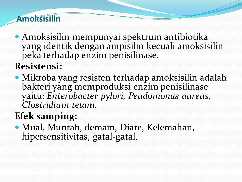 Amoksisilin Amoksisilin mempunyai spektrum antibiotika yang identik dengan ampisilin kecuali amoksisilin peka terhadap enzim penisilinase.