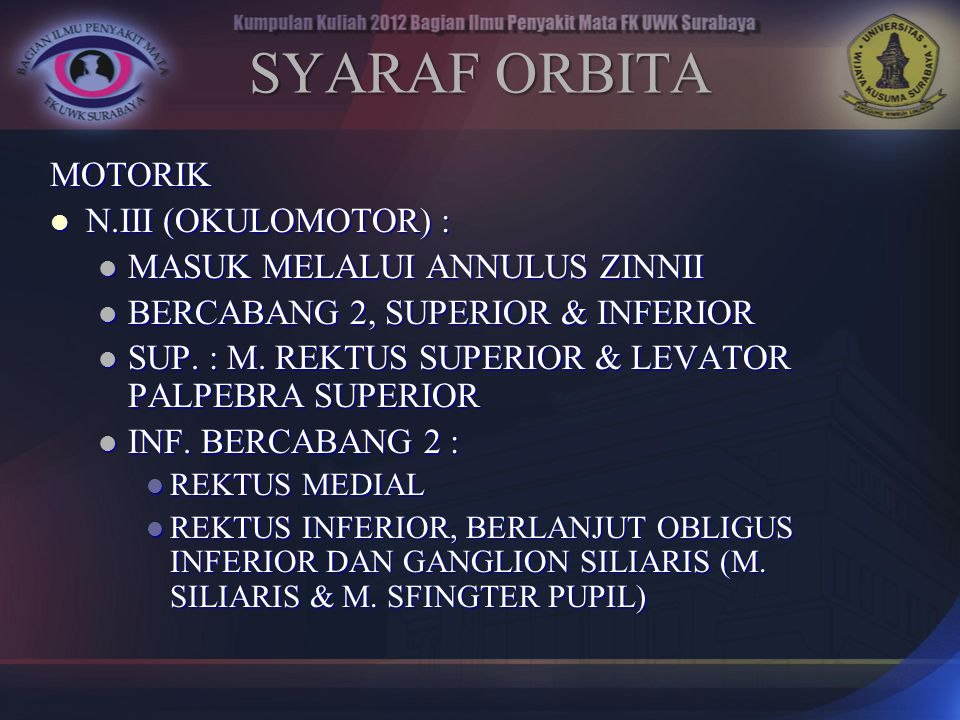 SYARAF ORBITA MOTORIK N.III (OKULOMOTOR) :