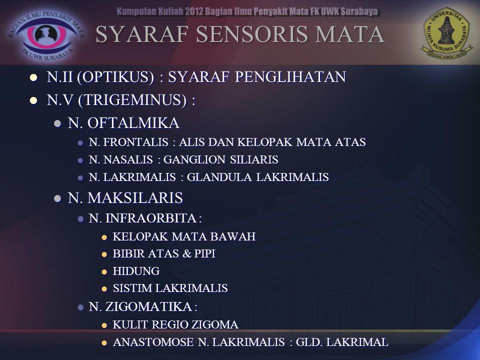 SYARAF SENSORIS MATA N.II (OPTIKUS) : SYARAF PENGLIHATAN