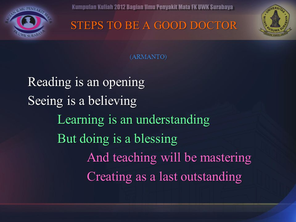 STEPS TO BE A GOOD DOCTOR