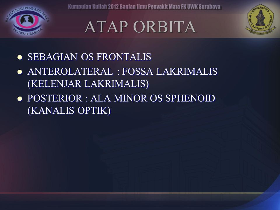 ATAP ORBITA SEBAGIAN OS FRONTALIS