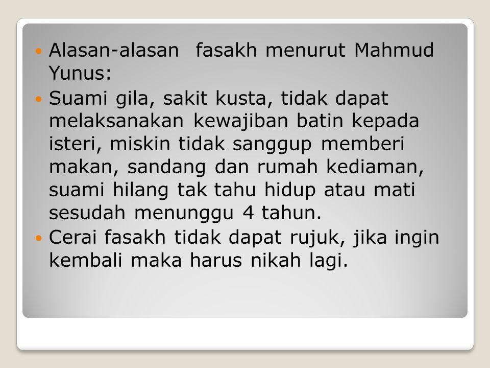 Alasan-alasan fasakh menurut Mahmud Yunus: