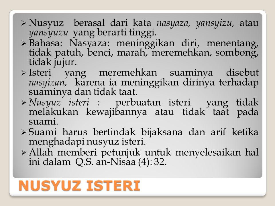 Nusyuz berasal dari kata nasyaza, yansyizu, atau yansyuzu yang berarti tinggi.