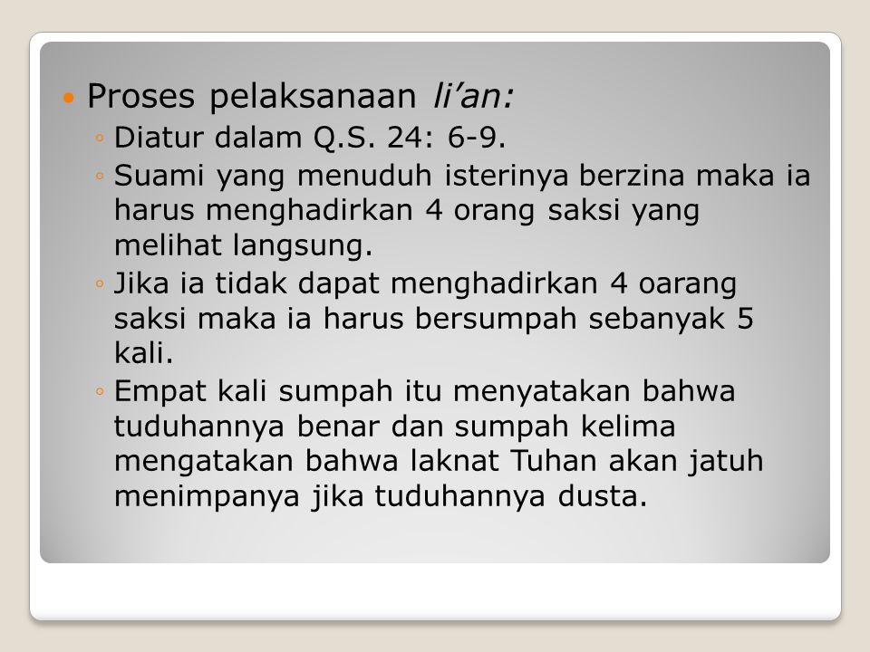 Proses pelaksanaan li'an:
