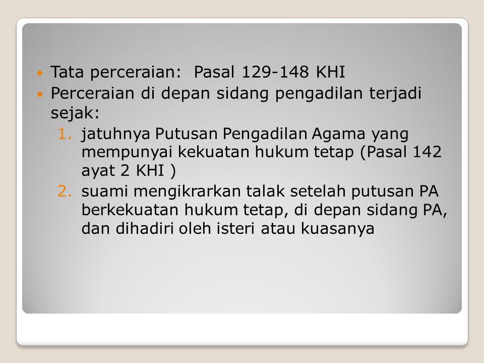 Tata perceraian: Pasal 129-148 KHI