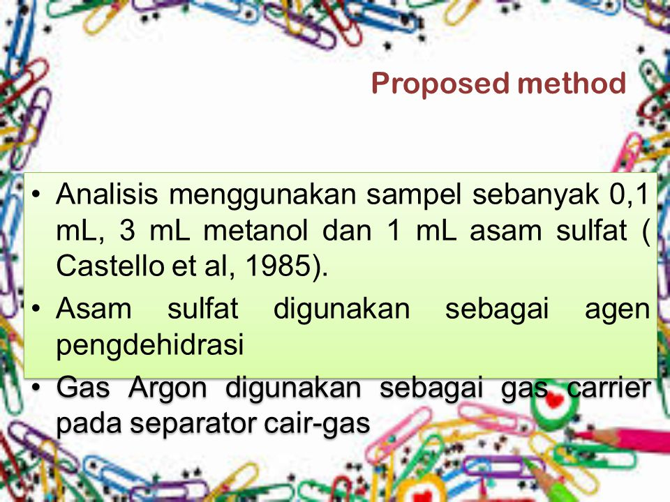 Proposed method Analisis menggunakan sampel sebanyak 0,1 mL, 3 mL metanol dan 1 mL asam sulfat ( Castello et al, 1985).