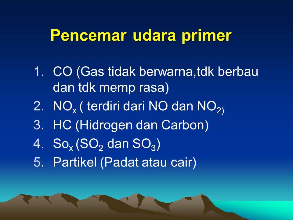 Pencemar udara primer CO (Gas tidak berwarna,tdk berbau dan tdk memp rasa) NOx ( terdiri dari NO dan NO2)