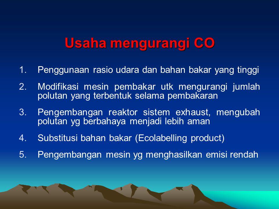 Usaha mengurangi CO Penggunaan rasio udara dan bahan bakar yang tinggi