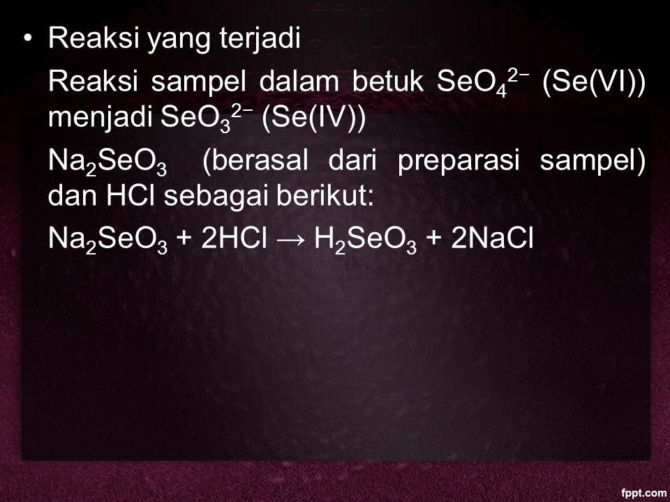Reaksi yang terjadi Reaksi sampel dalam betuk SeO42− (Se(VI)) menjadi SeO32− (Se(IV))