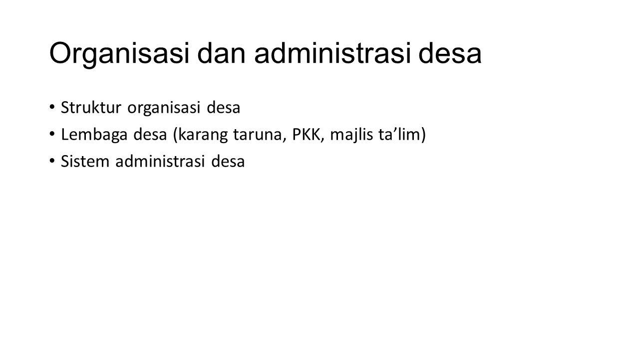 Organisasi dan administrasi desa