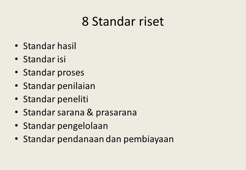 8 Standar riset Standar hasil Standar isi Standar proses