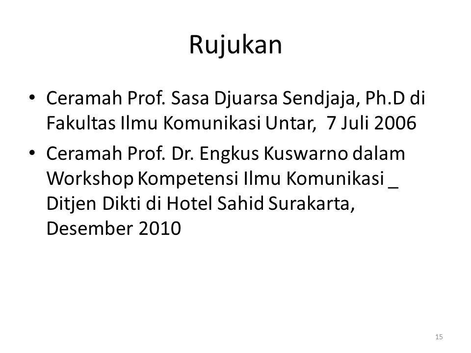 Rujukan Ceramah Prof. Sasa Djuarsa Sendjaja, Ph.D di Fakultas Ilmu Komunikasi Untar, 7 Juli 2006.