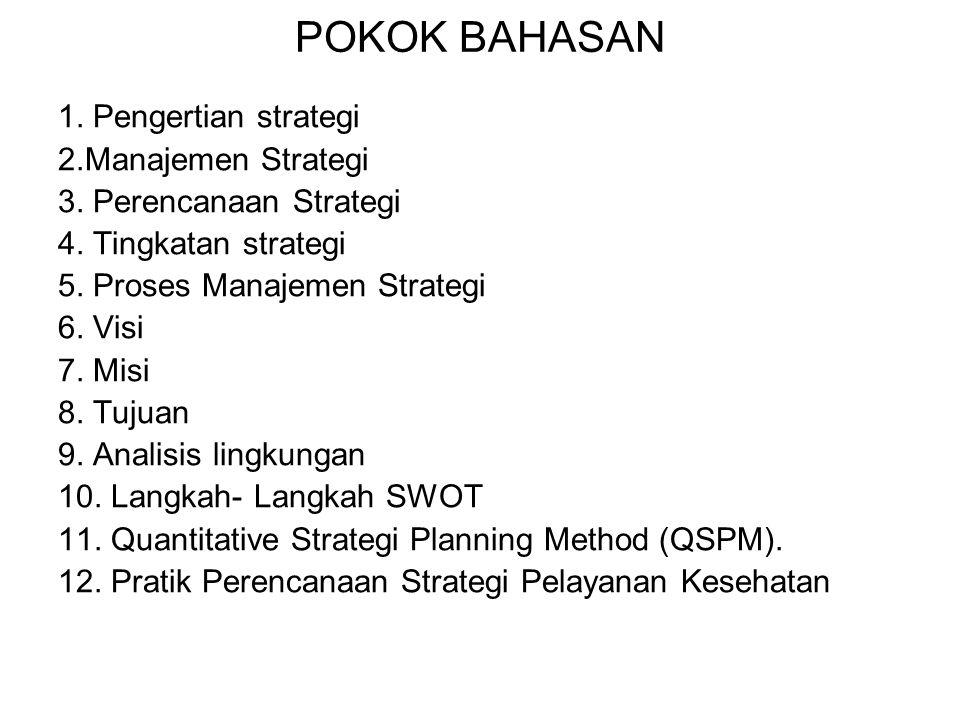 POKOK BAHASAN 1. Pengertian strategi 2.Manajemen Strategi