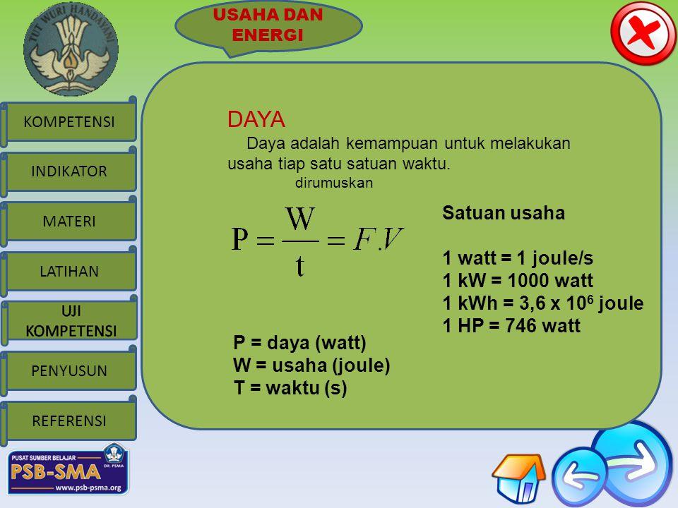 DAYA Satuan usaha 1 watt = 1 joule/s 1 kW = 1000 watt