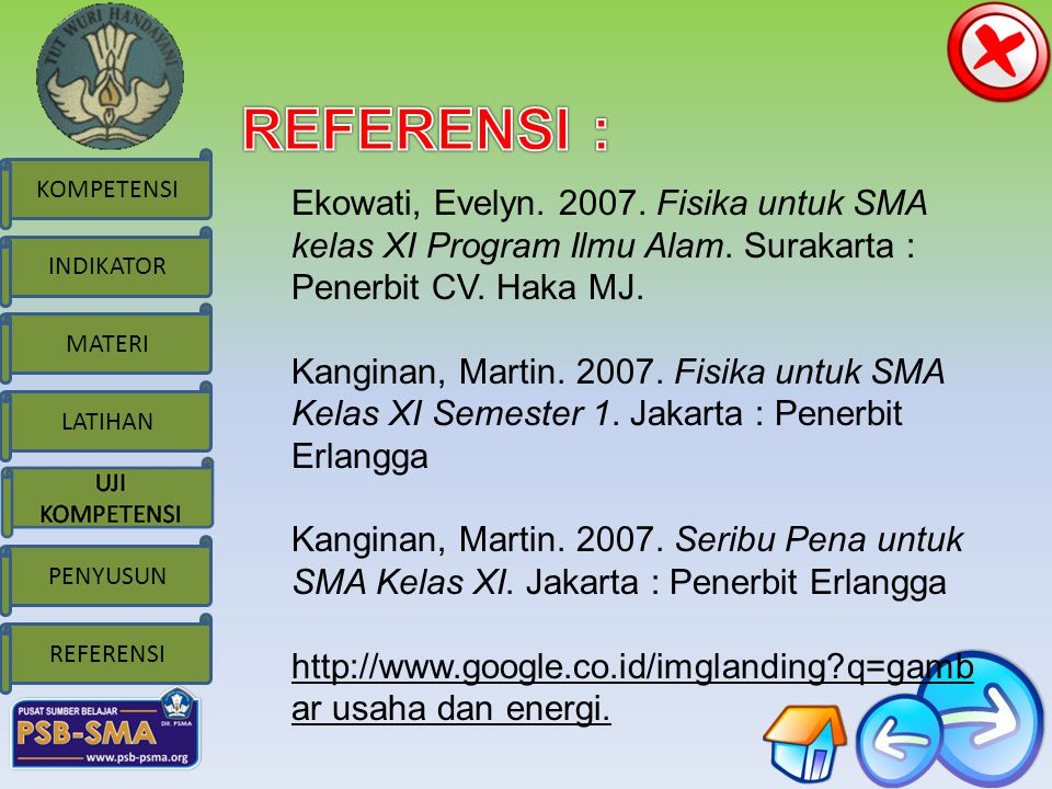 REFERENSI : Ekowati, Evelyn. 2007. Fisika untuk SMA kelas XI Program Ilmu Alam. Surakarta : Penerbit CV. Haka MJ.