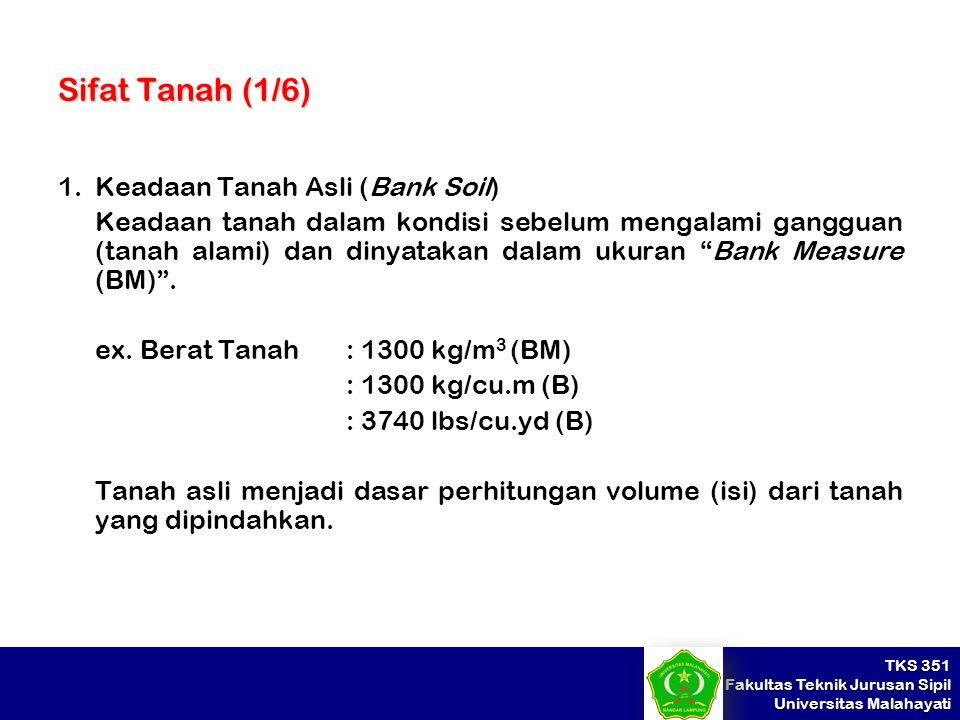 Sifat Tanah (1/6) Keadaan Tanah Asli (Bank Soil)