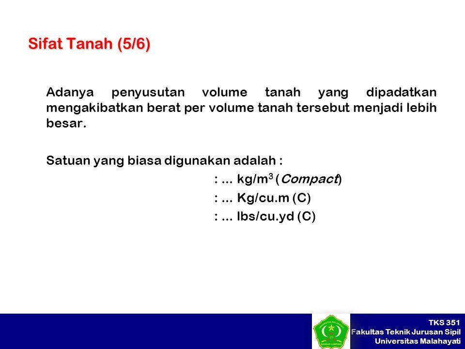 Sifat Tanah (5/6) Adanya penyusutan volume tanah yang dipadatkan mengakibatkan berat per volume tanah tersebut menjadi lebih besar.