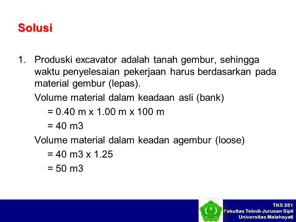 Solusi Produski excavator adalah tanah gembur, sehingga waktu penyelesaian pekerjaan harus berdasarkan pada material gembur (lepas).