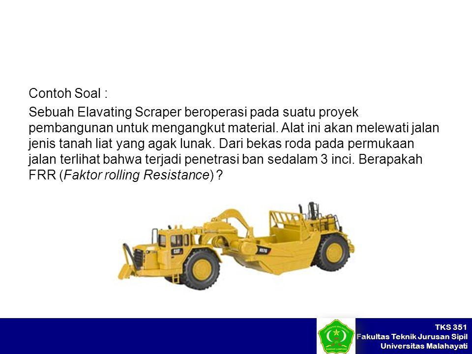 Contoh Soal : Sebuah Elavating Scraper beroperasi pada suatu proyek pembangunan untuk mengangkut material.