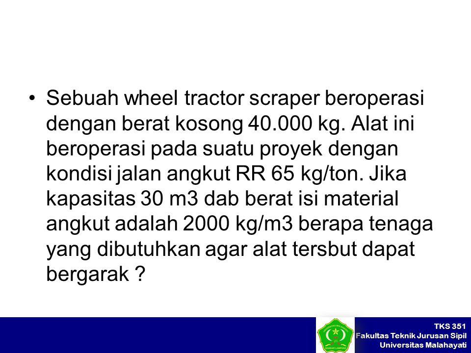 Sebuah wheel tractor scraper beroperasi dengan berat kosong 40. 000 kg