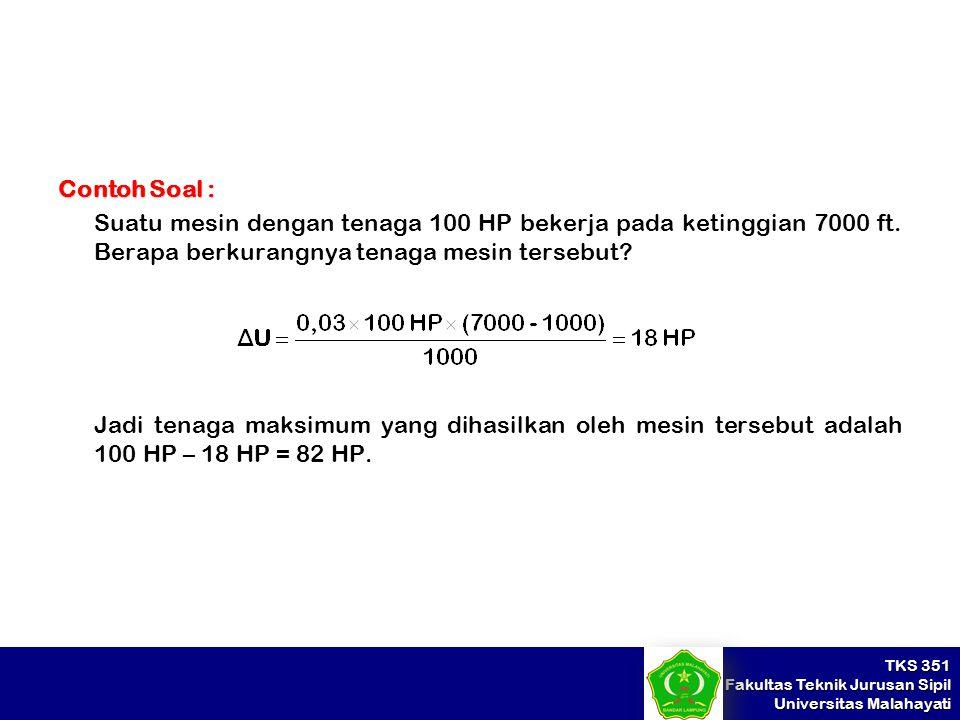 Contoh Soal : Suatu mesin dengan tenaga 100 HP bekerja pada ketinggian 7000 ft. Berapa berkurangnya tenaga mesin tersebut