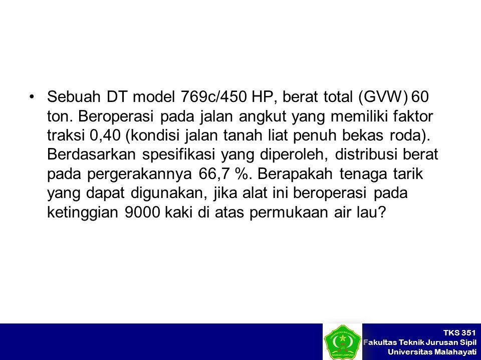 Sebuah DT model 769c/450 HP, berat total (GVW) 60 ton