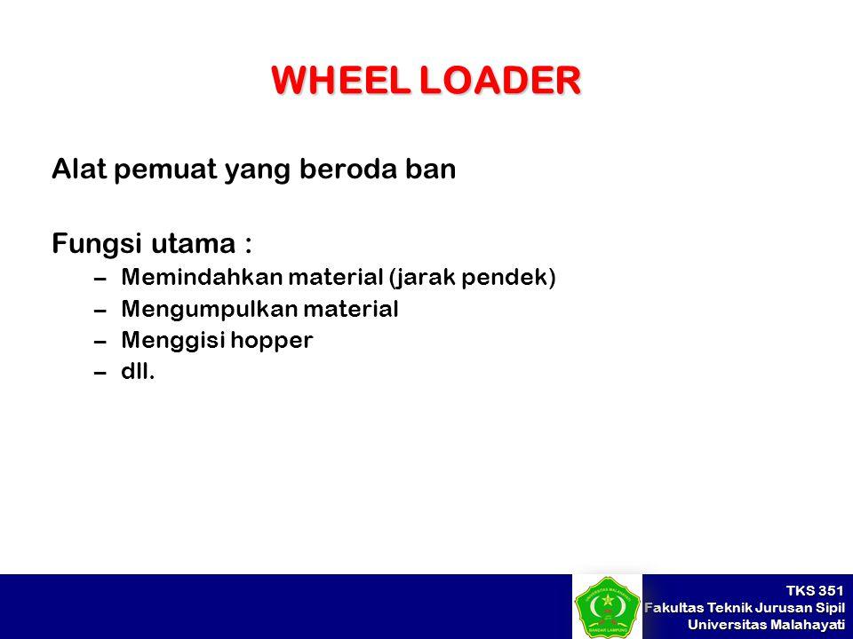 WHEEL LOADER Alat pemuat yang beroda ban Fungsi utama :