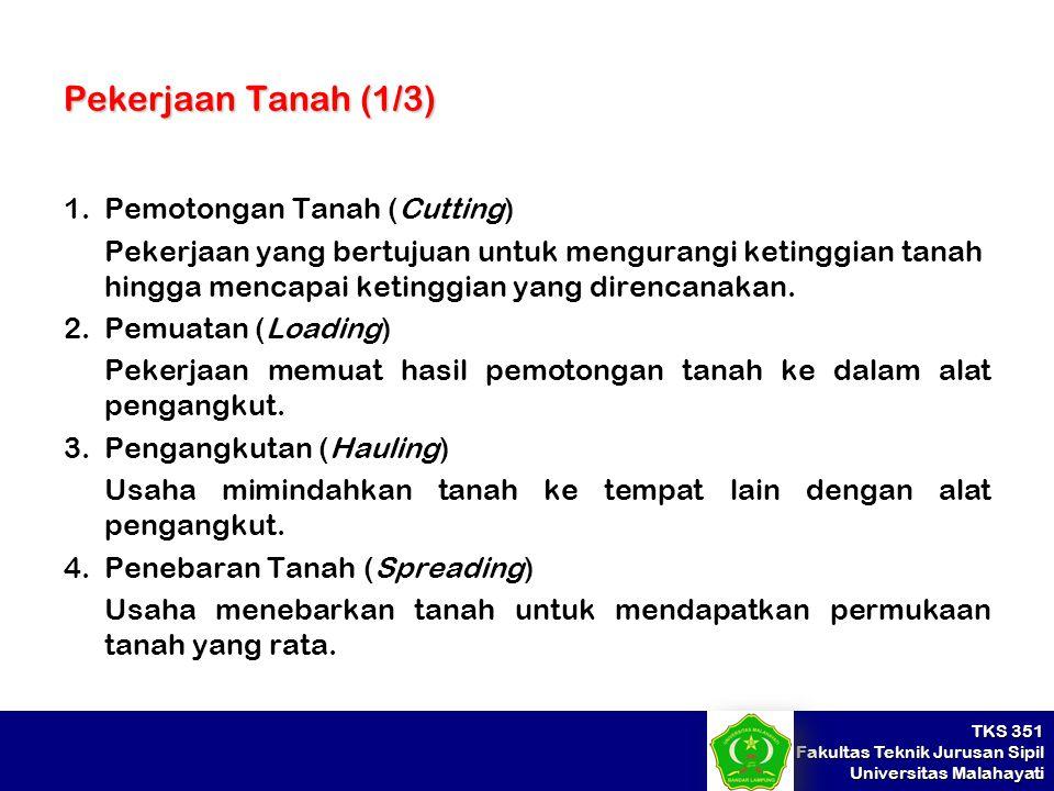 Pekerjaan Tanah (1/3) Pemotongan Tanah (Cutting)