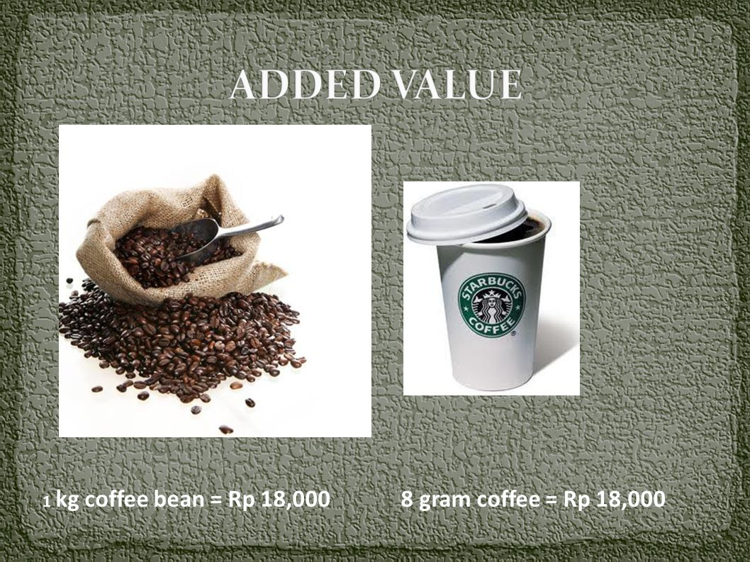 ADDED VALUE 1 kg coffee bean = Rp 18,000 8 gram coffee = Rp 18,000