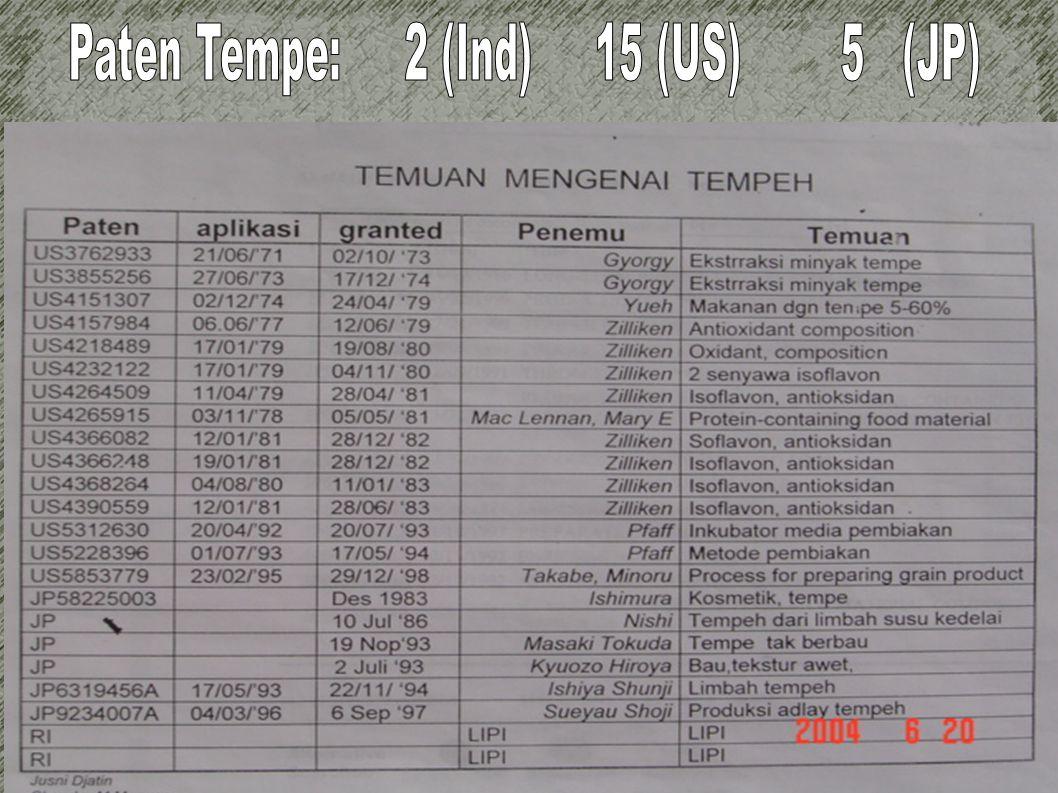 Paten Tempe: 2 (Ind) 15 (US) 5 (JP)